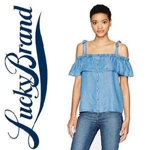 •Lucky Brand• NWT Denim Off the Shoulder Top